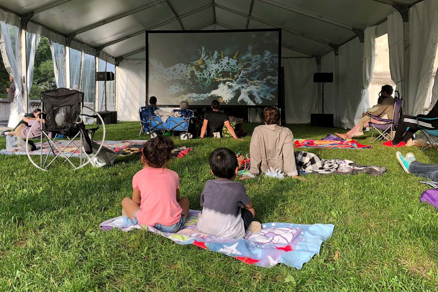 View from behind two children sitting on a beach towel on the grass, watching an underwater scene on a large movie screen in the background. Several other people are seated on blankets or camping chairs.