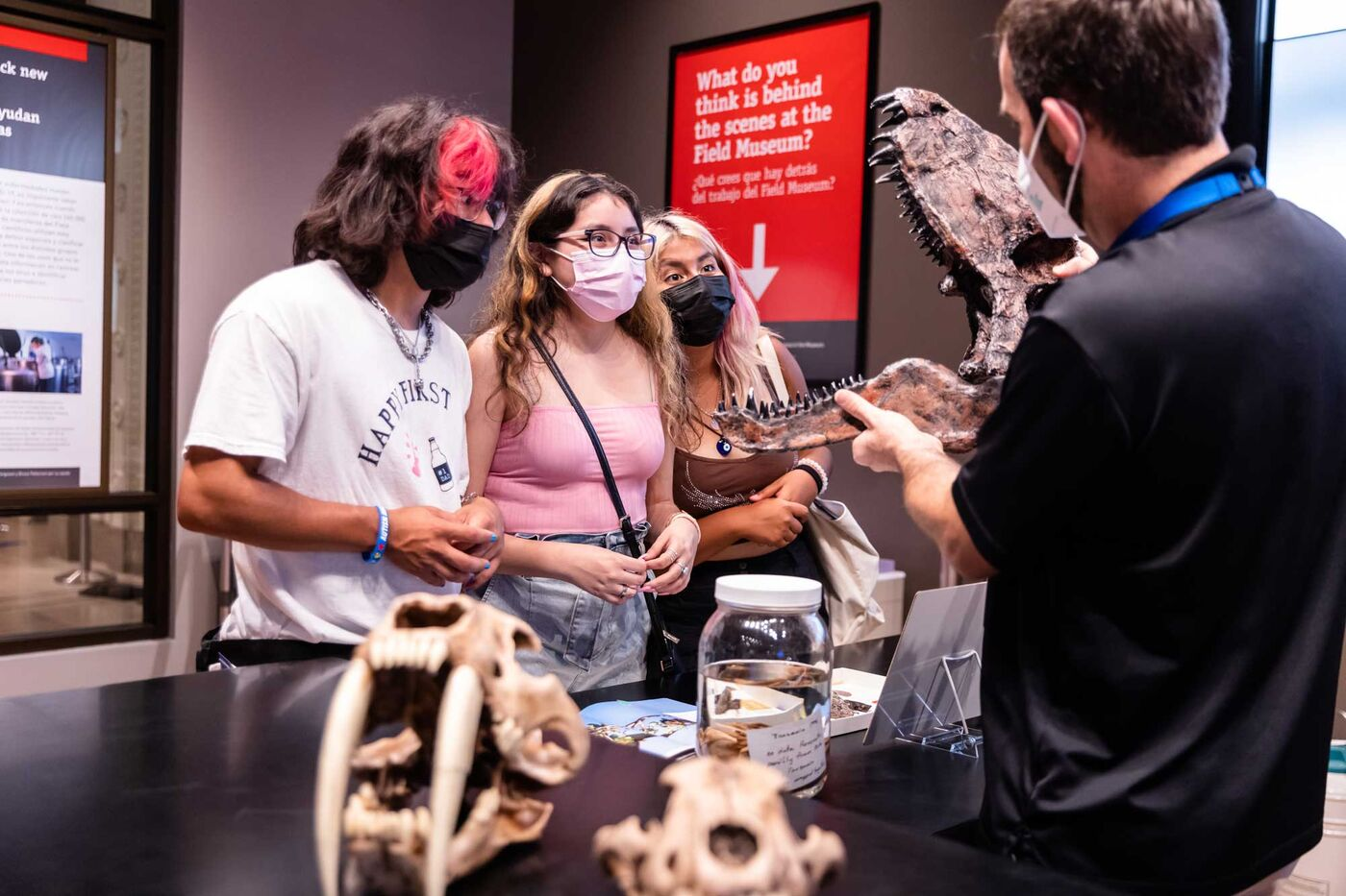 A Field Museum educator holds open a dimetrodon skull to show three visitors. Other skulls and a wet specimen in a jar sit on the table.