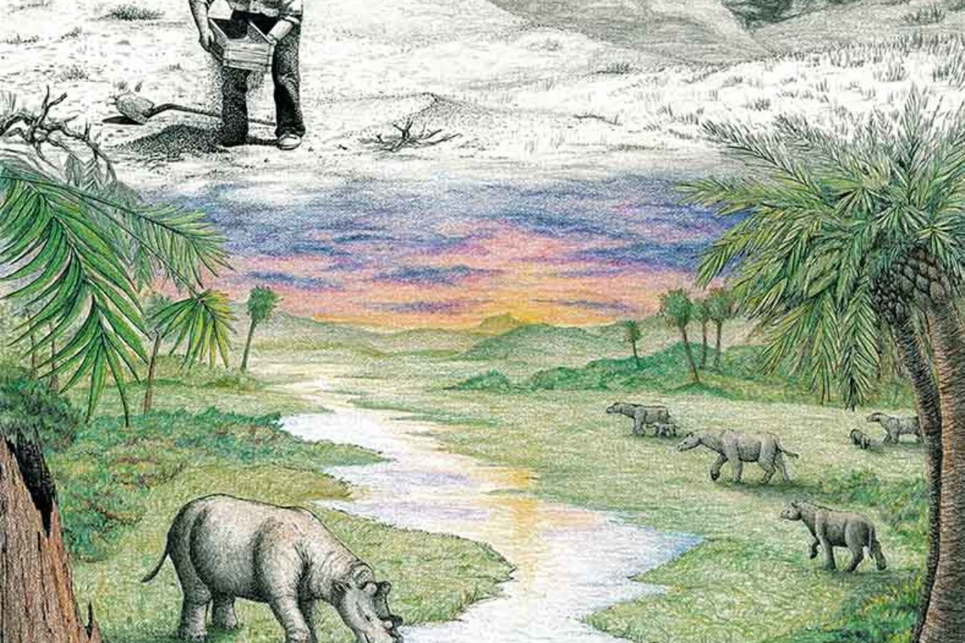 Black and white illustration of a man sifting sand through a screen in a mountainous terrain that transitions into a colorful landscape with palm trees, a stream, and a diverse array of prehistoric animals