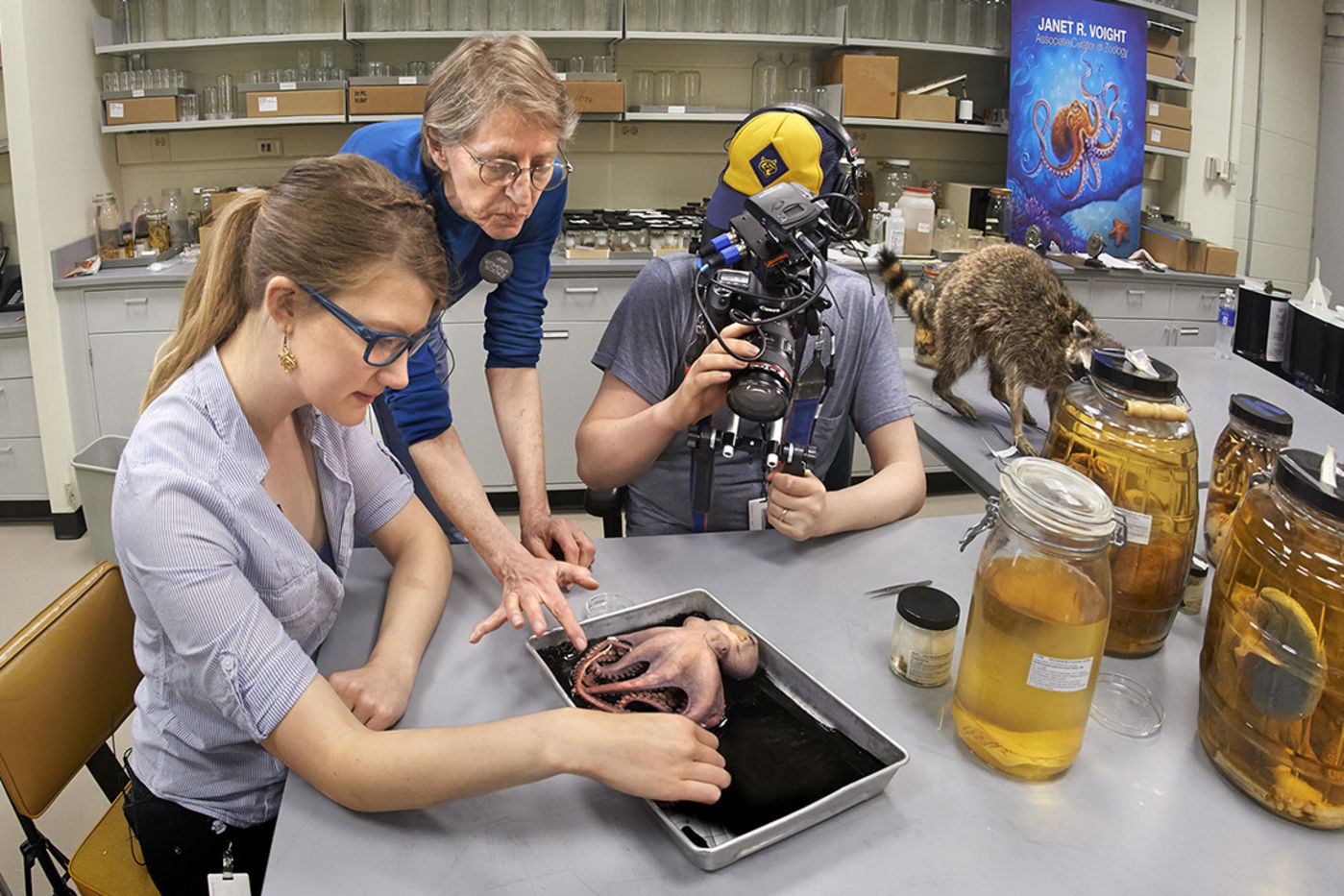 Host Emily Graslie examines an octopus specimen under the direction of curator Janet Voight while being filmed for The Brain Scoop.