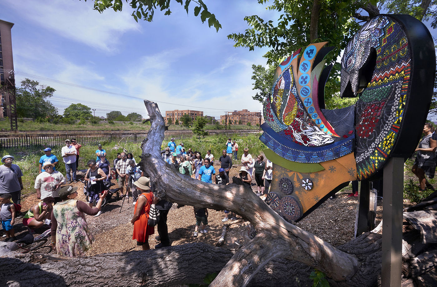 Gathering Spaces, Burnham Wildlife Corridor, Chicago, Festivals, Summer, Spring, Latino art, African-American art, monarch butterfly, sankofa, bronzeville, pilsen, chinatown, scholars rock, Sankofa for the Earth