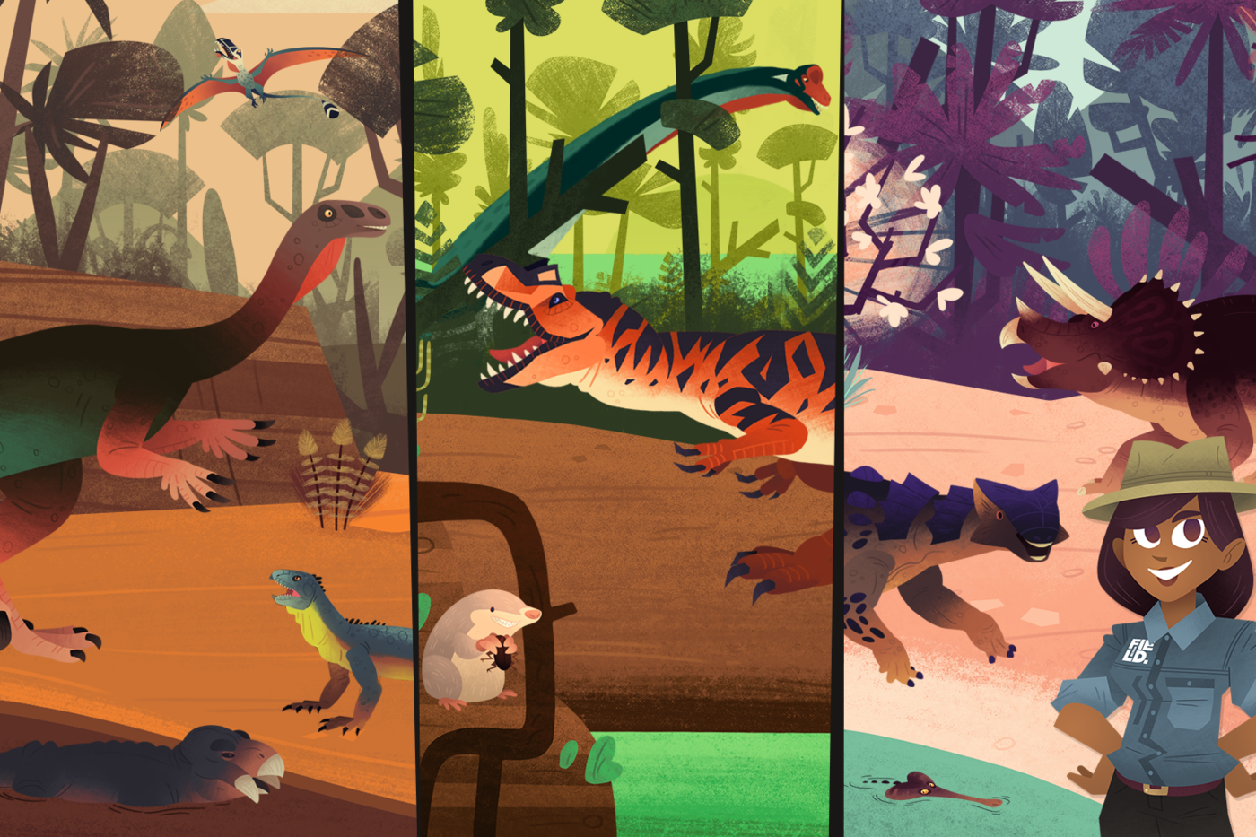 A composite image featuring stills from the animated game, Mission to the Mesozoic. The image contains three panes, each featuring various dinosaurs, mammals, and plants from the Cretaceous. A scientist appears in the third frame, smiling at the user with her hands on her hips.