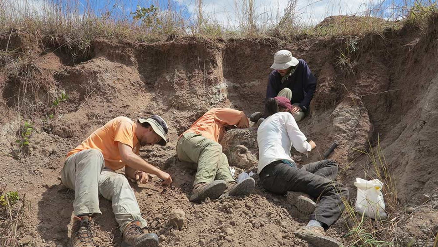 Three people lying on their sides and one sitting inside a large ditch, carefully sifting through the dirt