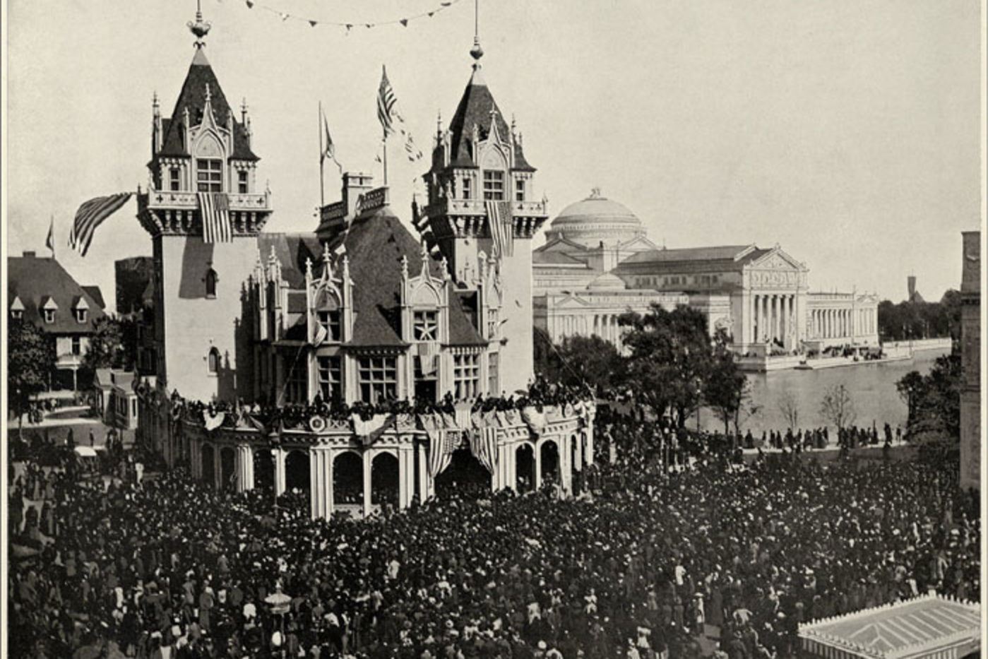 A huge crowd stands outside the Indiana Building at the Columbian  Exposition, Chicago, 1893