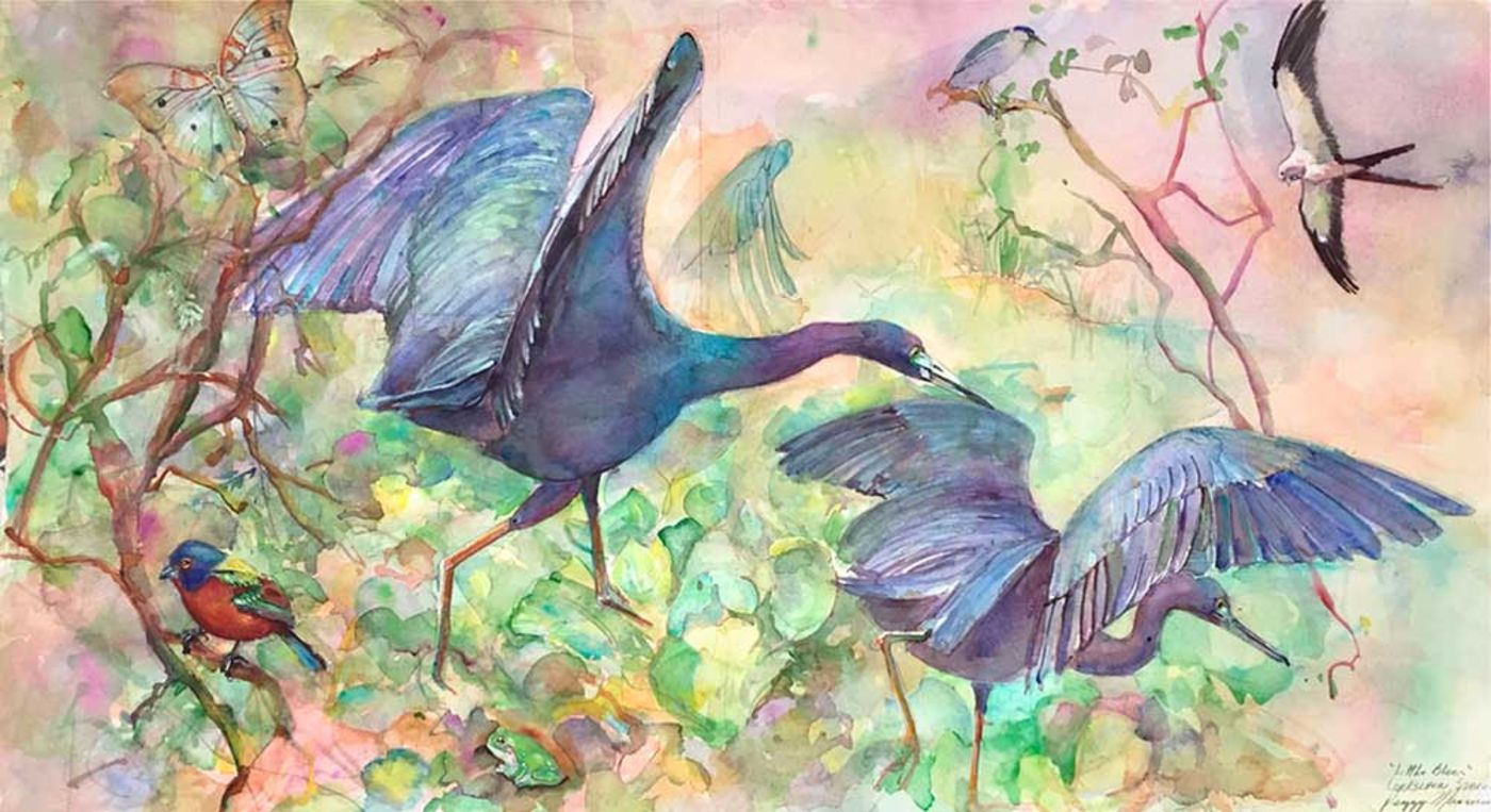 Colorful painting of two large blue birds among trees, surrounded by other smaller birds, a frog, and a butterfly