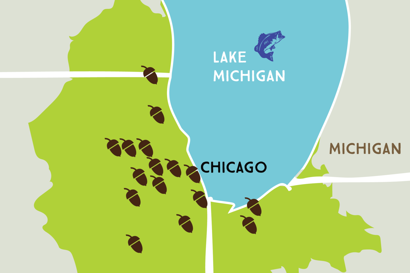 Map showing portions of the states of Wisconsin, Illinois, Indiana, and Michigan around the south shore of Lake Michigan. A brighter green indicates the Chicago Wilderness Region, which covers portions of each state: a small amount of southwestern Michigan and southeastern Wisconsin, a larger portion in northwest Indiana, and the largest portion around the Chicagoland area of Illinois. Chicago is the only city marked on the map. Small acorn items dot the map in Illinois and Indiana.