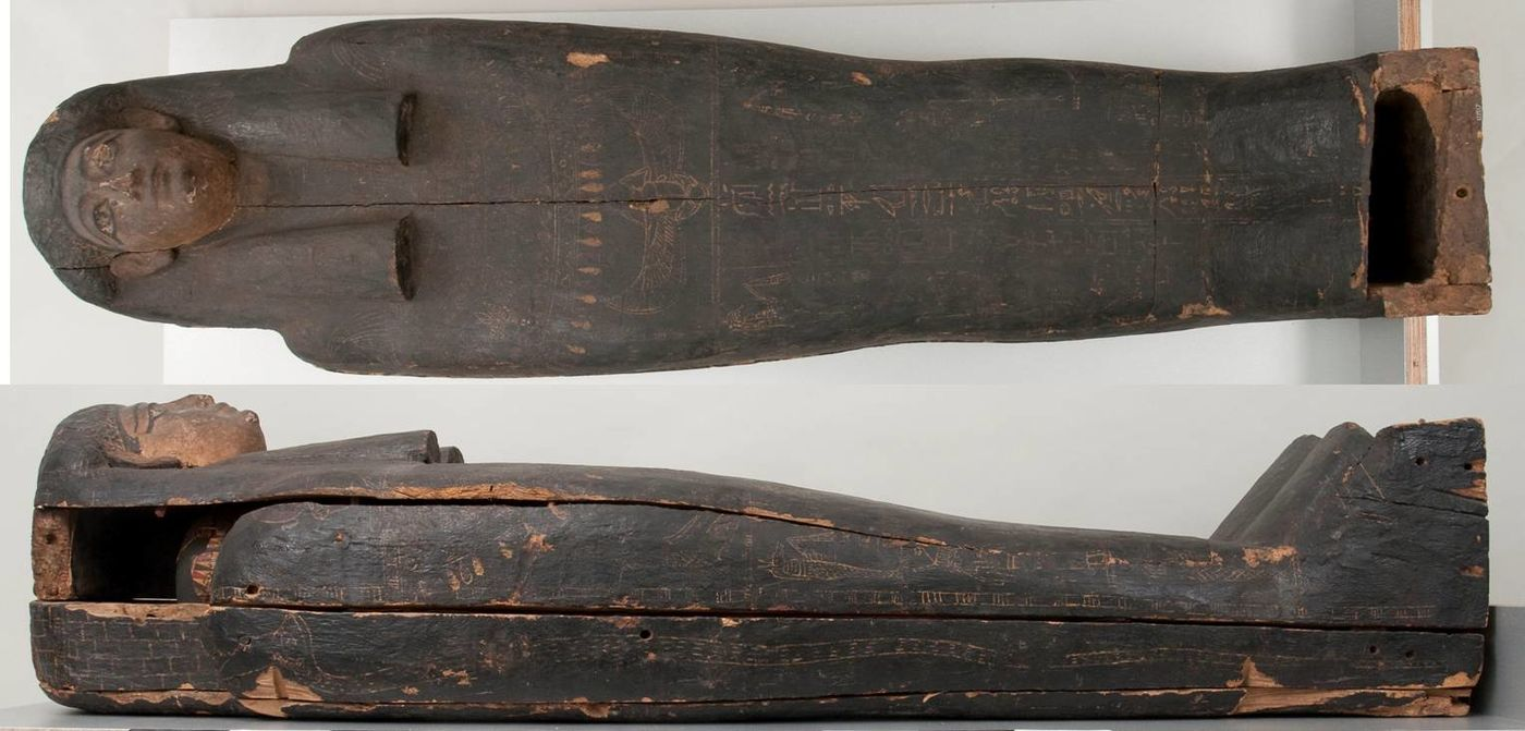 Two views of the coffin of Minirdis, from above (front) and one side.