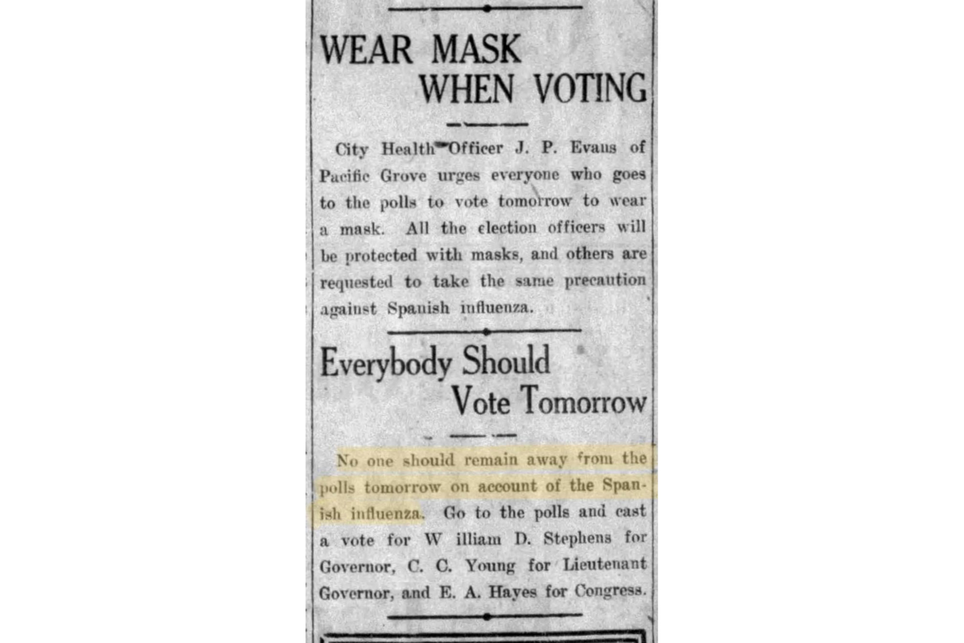 """A newspaper clipping that includes the headlines """"Wear Mask When Voting"""" and """"Everybody Should Vote Tomorrow."""""""