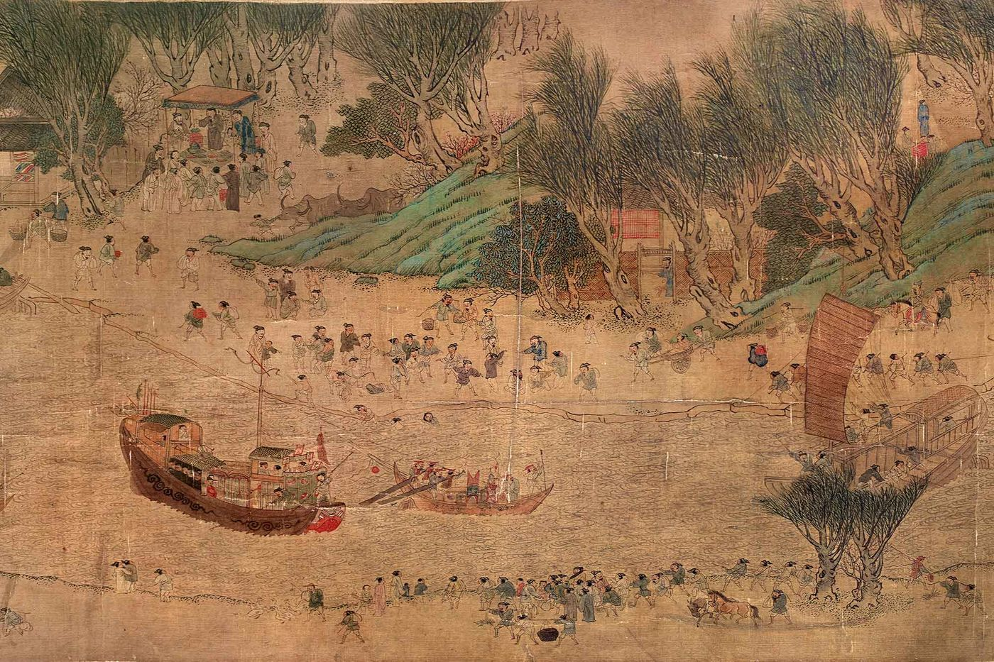 A section of the Qingming scroll depicting life and work near the Grand Canal during the Sui Dynasty (589–618 AD)