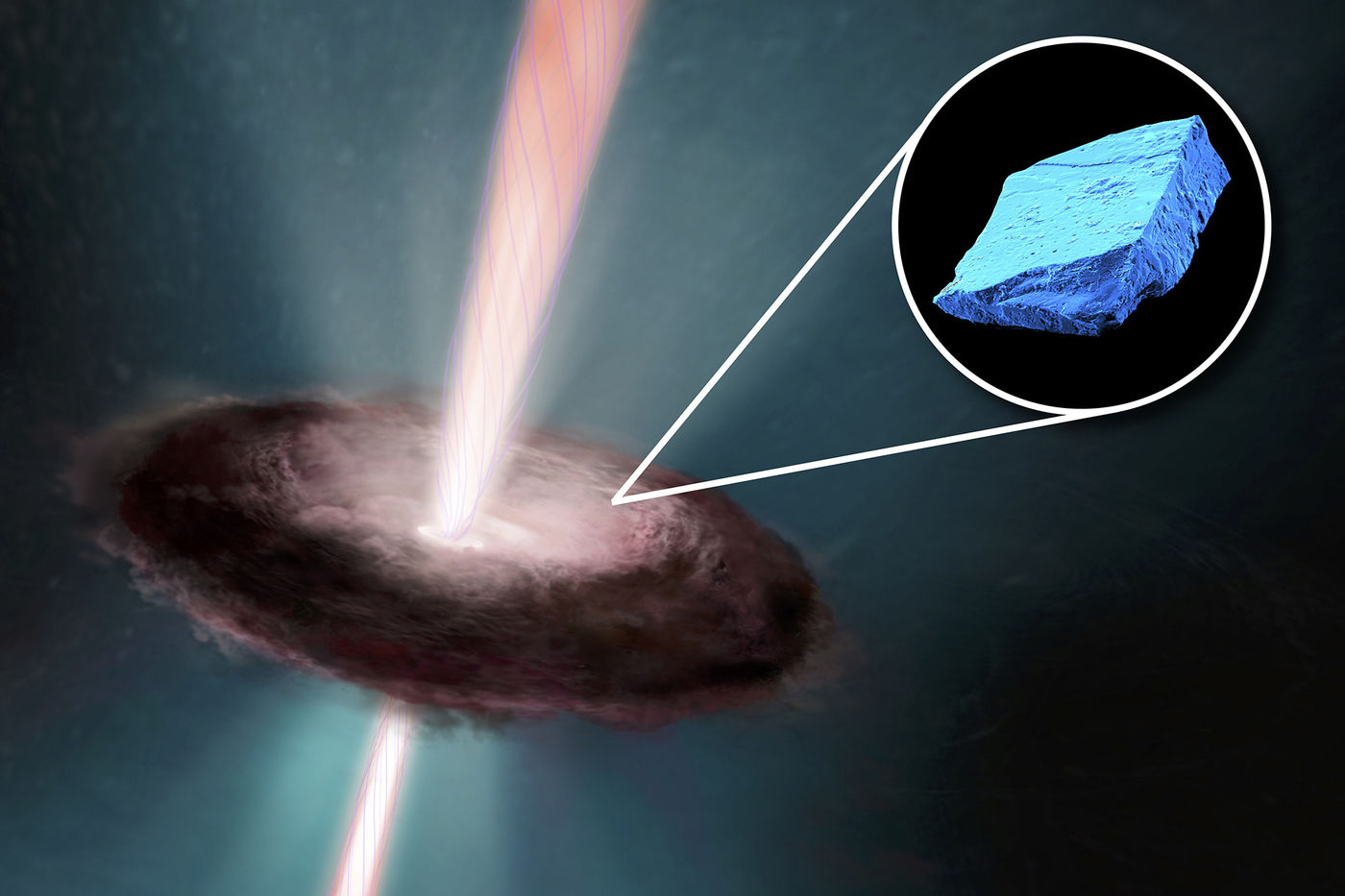"Illustration of the early ""solar disk,"" a dark donut-shaped cloud with a beam of pink light through the middle. The background is dark greenish blue, which is illuminated closer to the pink beam. An inset graphic shows a bright blue box that's similar to a rock in texture."
