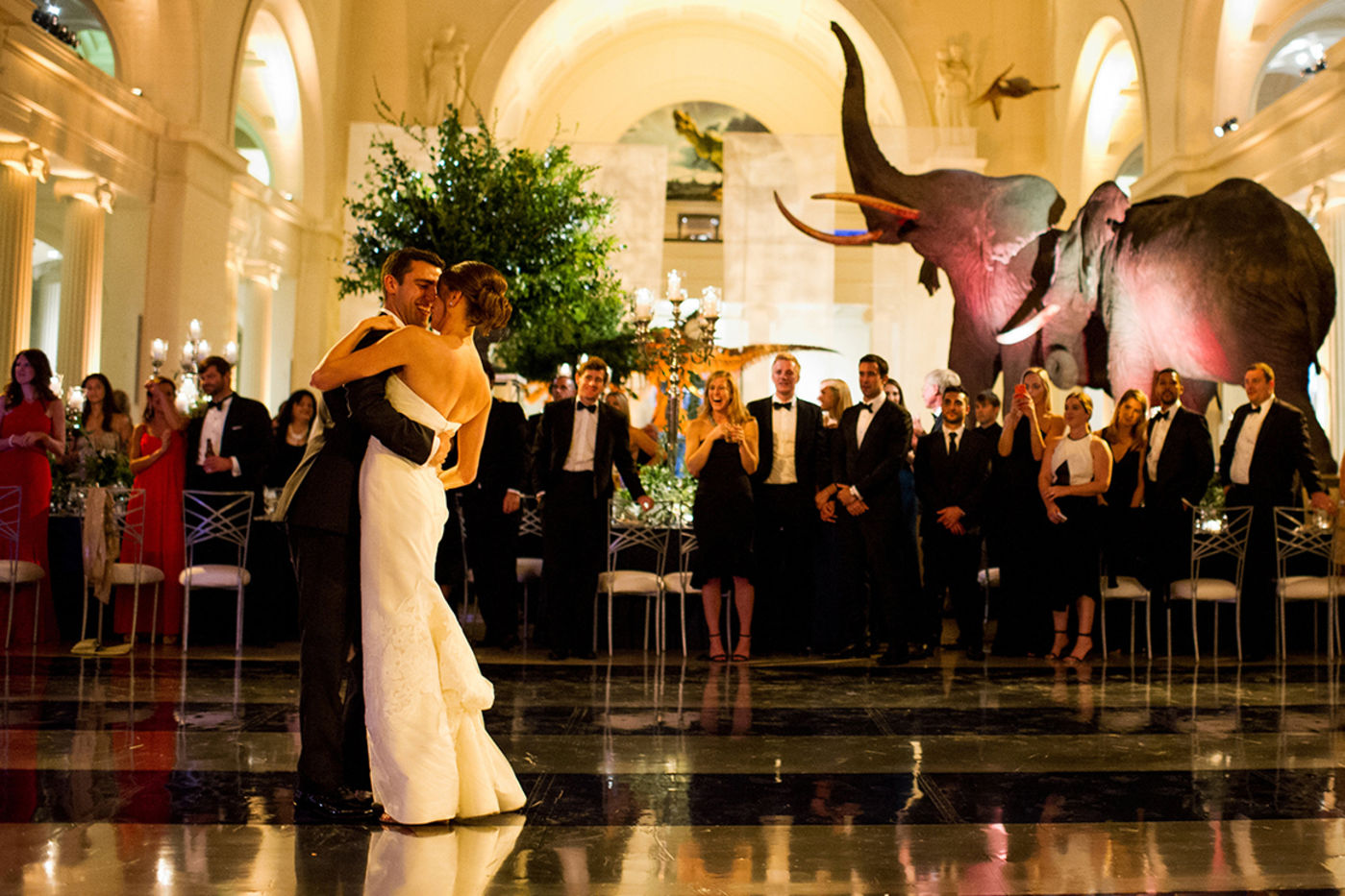 eb475084b9 A couple shares their first dance in the center of Stanley Field Hall—with  elephants