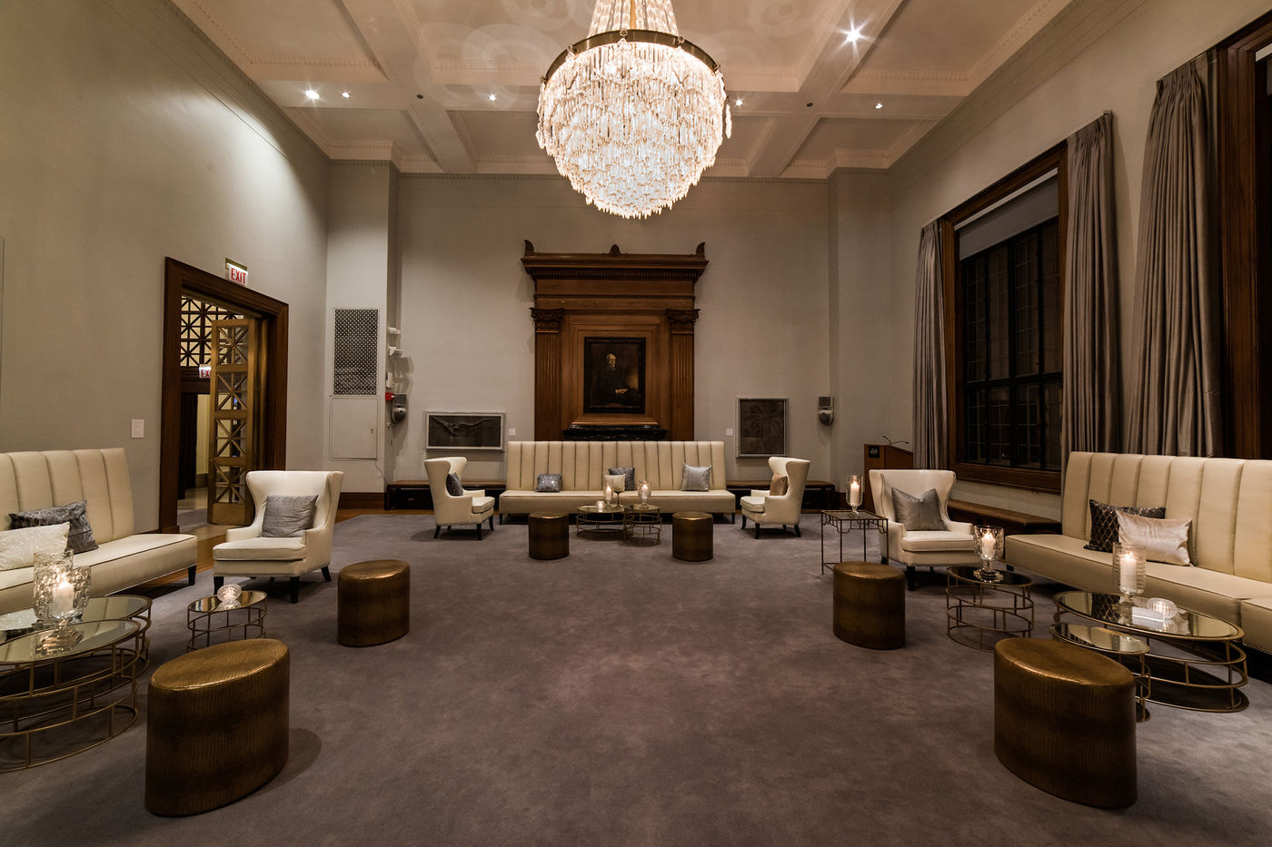 Founders' Room arranged for an event with a range of seating, including couches, chairs, and coffee tables.