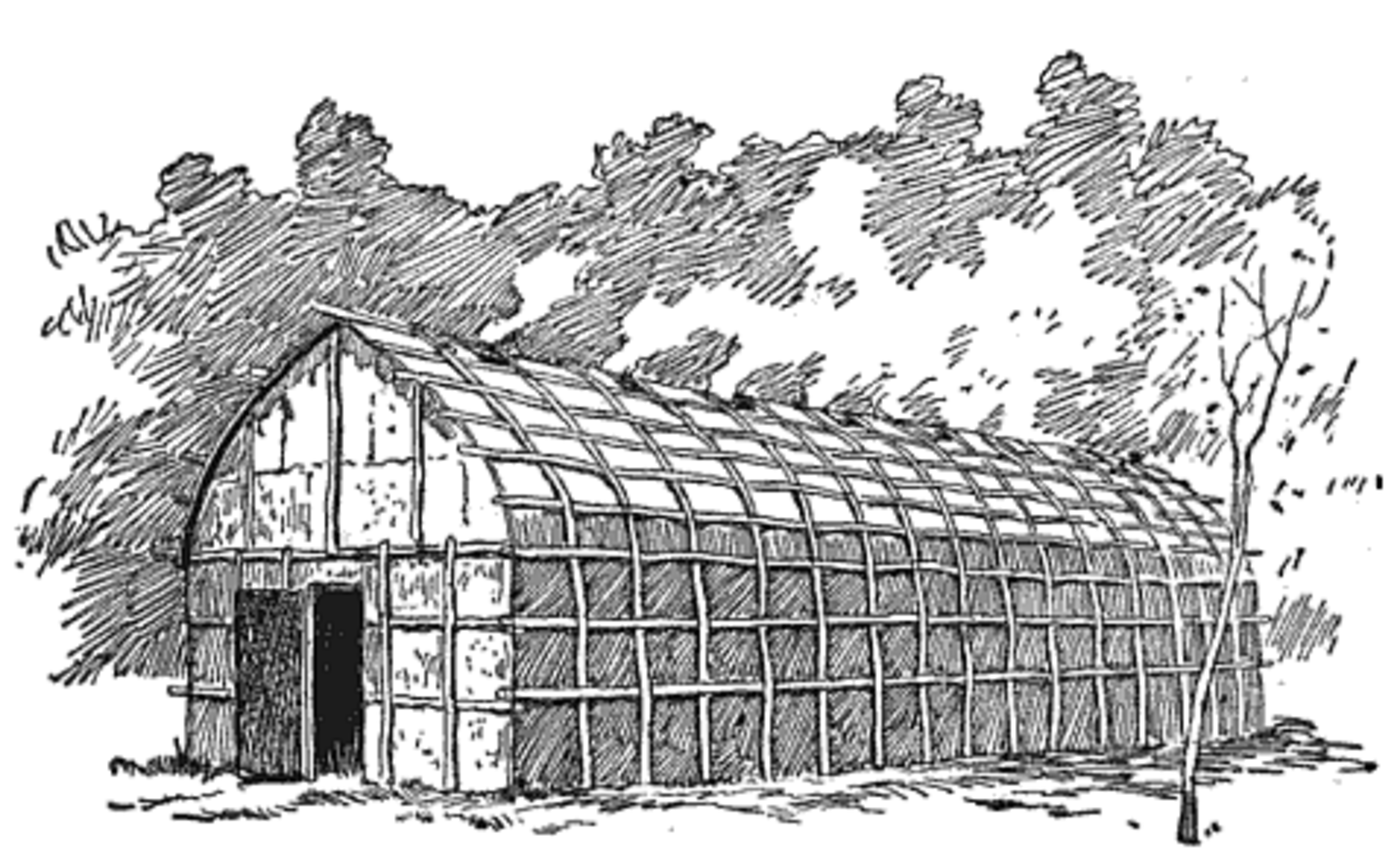 Illustration of a long house with wood beams