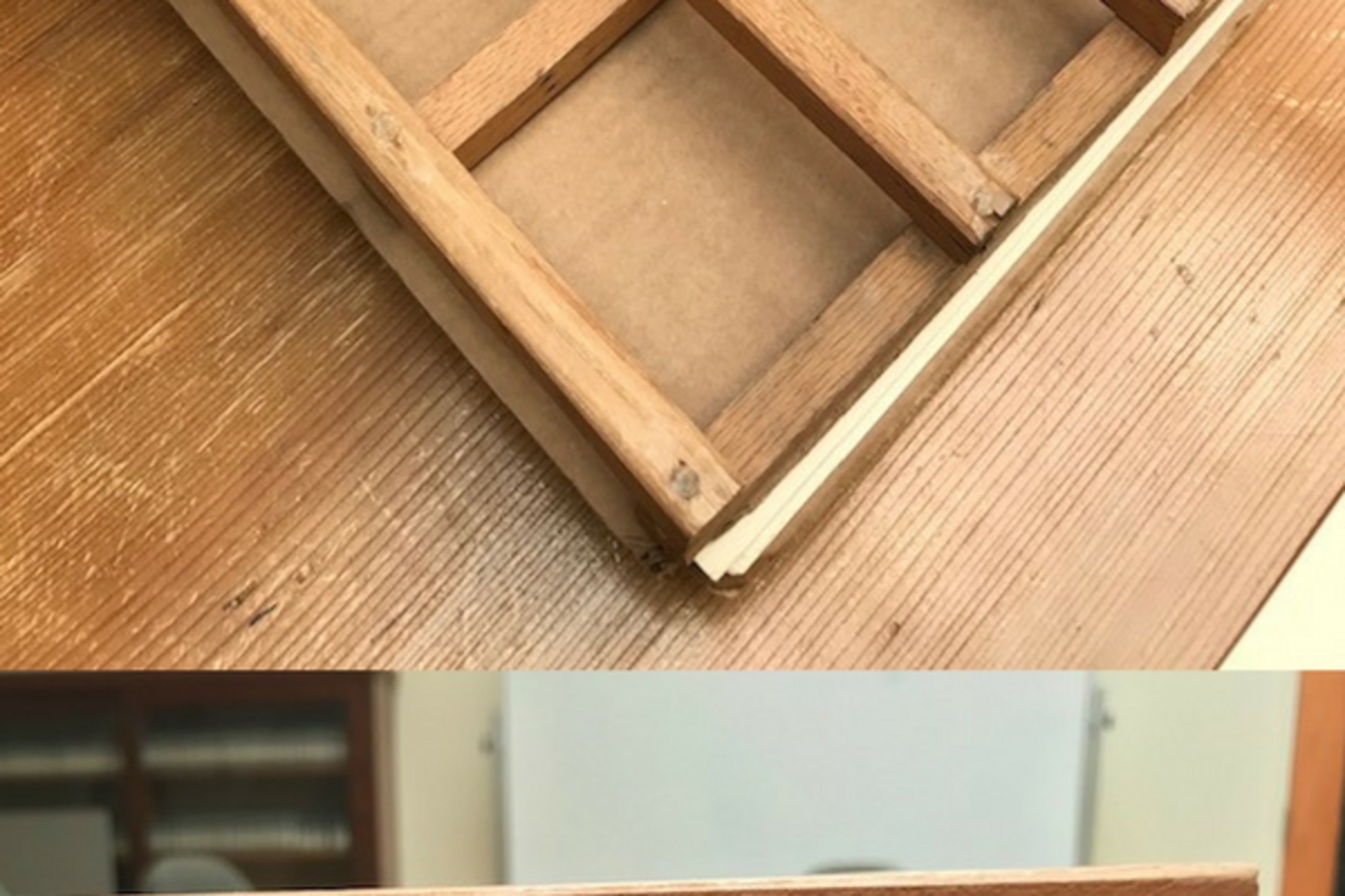 A grid made of wood, and stacked layers of the grid, cardboard, and paper