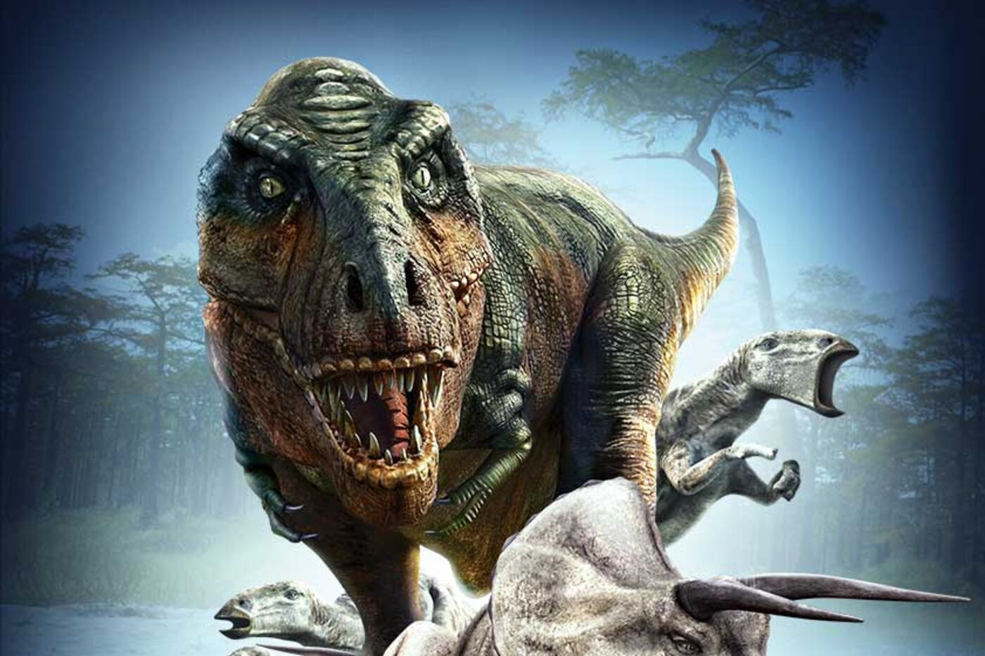 Illustration of a fierce-looking T. rex showing its teeth, surrounded by other dinosaurs.