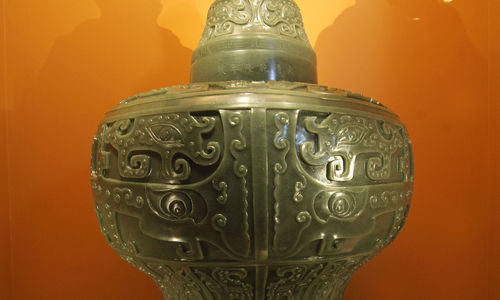 An imperial jar, carved from a single jade boulder,used during the reign of the fourth Qing emperor of China.