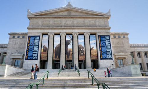View of Field Museum facade, with banners advertising Mammoths and Mastodons exhibition