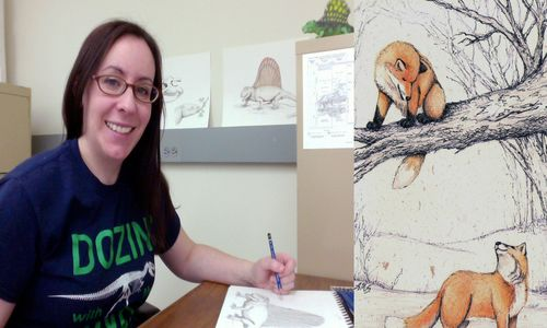 Side-by-side of a woman seated at a desk, working on a drawing, and a close-up of an illustration of orange foxes