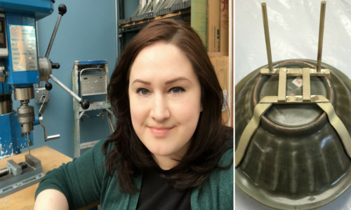 Two photos side-by-side: A women sitting in front of a large drill, and a bowl with a gold bracket attached to it, for display