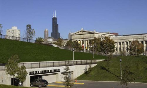 Entrance to Soldier Field parking garage with Field Museum visible in background