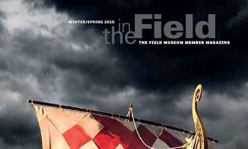 "Cover graphics from the winter/spring 2015 ""In The Field"" member magazine, featuring a Viking ship on rough seas, a storm sky above."