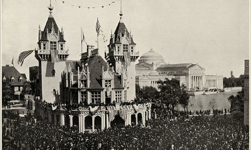 A huge crowd stands outside the Indiana Building at the Columbian Exposition, Chicago, 1893. The Palace of Fine Arts building is in the background.