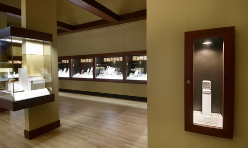 A display case in Grainger Hall of Gems that may be used for wedding engagements.