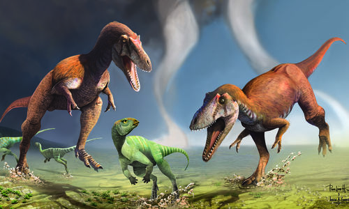 An artist's rendering of a small dinosaur being chased through a field by two larger dinosaurs, while two other small dinosaurs run away in the background.