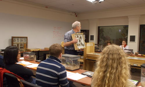 A scientist presenting specimens to a group of teachers in a Museum classroom.