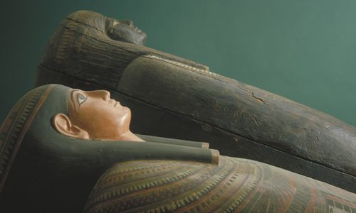 Two wooden Egyptian coffins