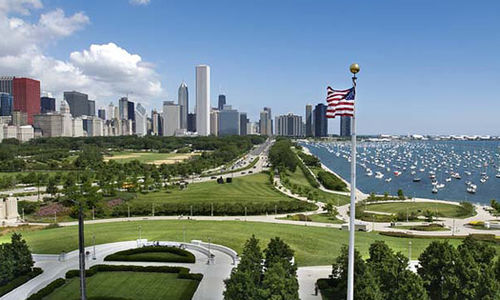 A view of the Chicago skyline and lakefront looking North from The Field Museum.