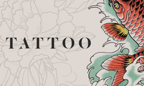 "Word ""Tattoo"" against background of tattoo designs"