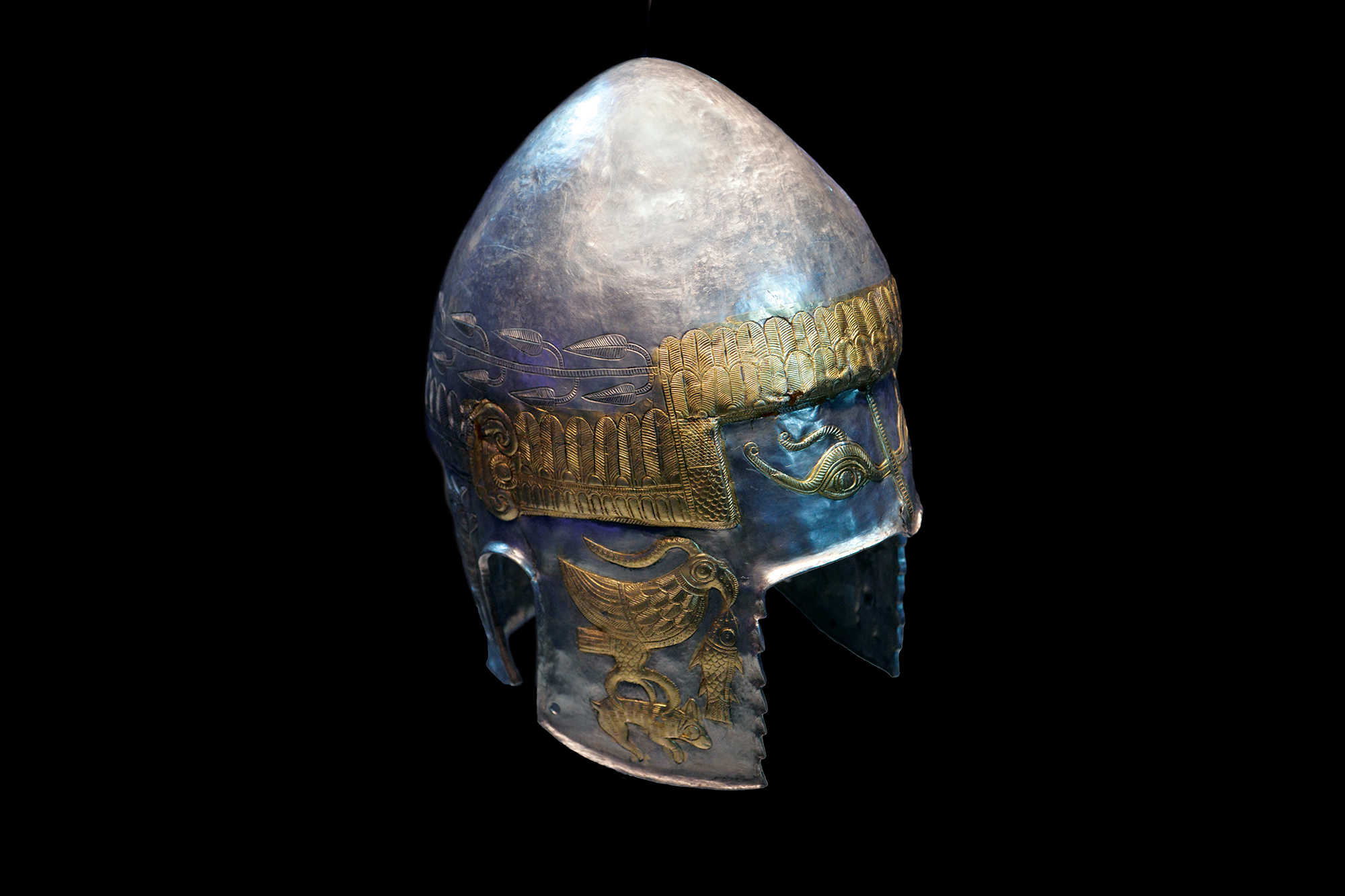 Photograph of an early European helmet.