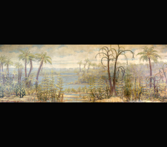 A Charles Knight mural showing his conceptualization of early land plants--Various sizes of palm-like trees and shrubs in a swampy landscape.