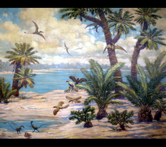 A tropical looking scene with prehistoric birds called Archaeopteryx, small carnivorous dinosaurs called Compsognathus, and long-tailed pterosaurs called Rhamphorhynchus. These creatures gather and fly around a body of water, with various sized palm trees